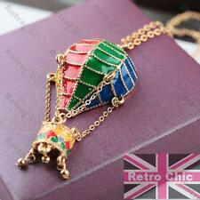 HOT AIR BALLOON pendant NECKLACE long chain GOLD PLATED multi enamel KITSCH red