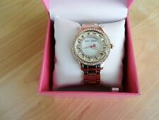 Betsey Johnson Rose Gold Tone Watch with Crystal Baguette Dial MSRP $155