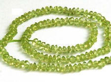 HALF STRAND NATURAL PERIDOT BUTTON / RONDELLE BEADS, 3.5 MM, GEMSTONE
