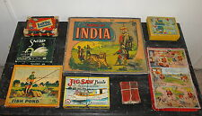 VTG ANTIQUE TIDDLEDY WINKS SNAP MOTHER GOOSE LOTTO FISH POND GAME OF INDIA LOT