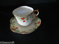 Vintage Aynsley Hand Painted Floral Tea Cup & Saucer-Scalloped