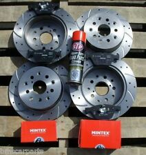 Ford Focus ST225 2.5 Front & Rear Drilled & Grooved Brake Discs & Mintex Pads