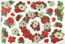 Rice Paper for Decoupage Decopatch Scrapbook Craft Sheet Christmas Flowers