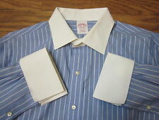 Brooks Brothers Non-IronBlue Striped PointCollar French/C Dress/S Men 161/2-36**
