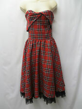 RED STRAPLESS TARTAN PUNK / ROCKABILLY STYLE DRESS SIZE 8