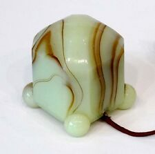 ANTIQUE Vintage AKRO AGATE Houze ART DECO Vaseline SLAG GLASS Cigarette Lighter