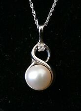 Stunning 14k White Gold Pearl and Diamond Pendent Necklace Make Offer!  #1017