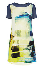 Karen Millen Mineral Print Art Silk Casual T Shirt Shift Dress US 4 UK 8 $360