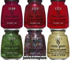 China Glaze HOLIDAY JOY Collection 6 Colors Nail Polish FULL SIZE 1109-1117