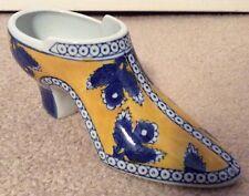 """Vintage SHOE FIGURINE Yellow, Blue & White Porcelain Ceramic 6-1/4""""L x 3""""H ~ EUC"""