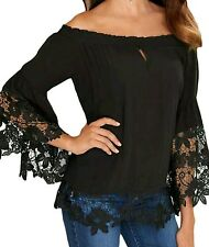 Black Off Shoulder Lace Trim Bell Sleeve Top Blouse Size UK 12