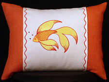 """New Embroidered Fancy Fish on Caribbean Orange Accent Pillow New 12""""x 16"""" insert"""