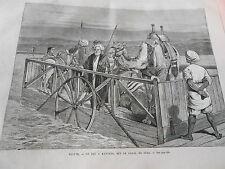 Gravure 1876 - Egypte Un Bac à Kantaria canal de suez