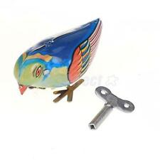 Retro UNIQUE Bird Design Wind Up Blue Metal Pecking Song Kids Pretend Play Toy