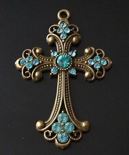 1 Extra Large Rhinestones Antique Bronze Cross Charm Pendant 75mm (TSC96)