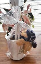 WINTER BEAR HUGGER ON RICE PAPER COVERED PENCIL CUP WITH 2 PENCILS SO CUTE!