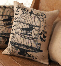 Mud Pie French Bird in Cage Paris Burlap Throw Pillow Decor Tan