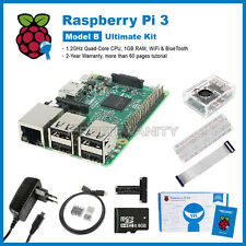Raspberry Pi 3 Ultimate Kit: Case mit Fan + SD Card + Breadboard + Heatsink