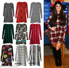 Womens Ladies Tartan Check Long Sleeve Swing Flared Skater Dress plus size 8-30