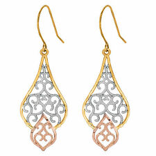 10k tri-color gold Filigree Chandelier Fancy Dangle Kidney Wire Earrings