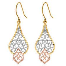 10k tri-color gold Filigree Chandelier Fancy Dangle Kidney Wire Earrings