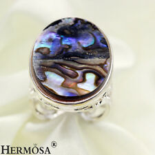 Top Genuine Abalone Shell 25x18mm.Oval 925 Sterling Silver Lady Rings Sz.9 MR095