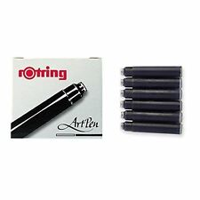 ROTRING ROYAL BLACK FOUNTAIN PEN CARTRIDGES  PACK OF 6 NEW  FITS THE ROTRING 600