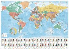 WORLD MAP (FLAGS AND FACTS) MAP OF THE WORLD GPP51070  GIANT  POSTER 140cm x 100