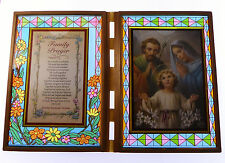 Stained glass double frame with Family prayer & Holy Family image 18cm gift