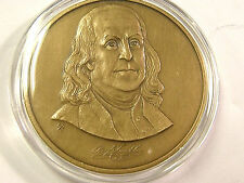 LARGE BEN FRANKLIN BRONZE MEDAL Franklin Mint Ben Flying Kite Reverse SEE