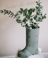 SHABBY CHIC VINTAGE RUSTIC METAL WELLY BOOT GARDEN PLANTER PLANT JUG PITCHER POT