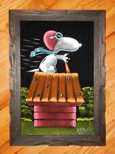 Signed Vintage Black Velvet Snoopy on Bullet Hole Doghouse Painting-EUC