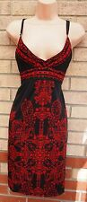 BLACK RED PAISLEY BAROQUE FLORAL PADDED BRA STRAPPY A LINE HOLIDAY DRESS 12 M