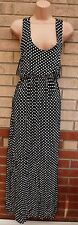 QED LONDON WHITE SPOTTY POLKA DOT BLACK DRAPE LONG MAXI SUMMER DRESS S M