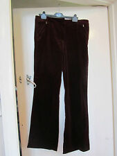 Dark Red - Cranberry Velvet M&S Autograph Trousers in Size 16 L - L34