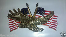 "METAL EAGLE w/USA FLAG EMBLEM (3"" x 1-3/4"") - Honda Goldwing 1200 1500 1800"