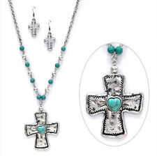 Hammered Metal Cross Turquoise Bead Long Necklace Set SILVER