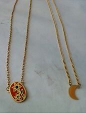 Beautiful Set of Two Short Pendant Gold Tone Chain Necklace Flowers Moon