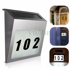 Stainless Solar Powered Led Illuminated Lamp House Door Number Light Wall Plaque