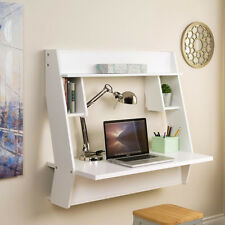 White Multi-Shelf Wall Mounted Floating Laptop Desk Home Office Furniture Study