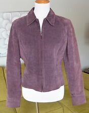 WORTHINGTON Womens PURPLE Suede Bomber Jacket Leather Zip Coat Fully Lined M