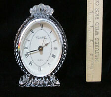 """Crystal Clear Glass Clock Mantel Shelf Battery Operated 5.5"""" Tall 24% Lead"""
