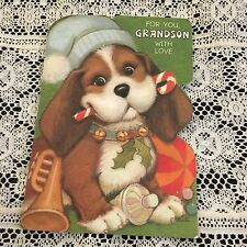 Vintage Greeting Card Christmas Dog Candy Cane Trumpet