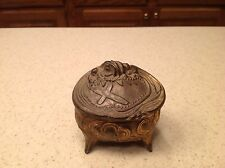 Antique Casket Jewelry Rosary Metal Footed Box Unique Cross W/ Lining