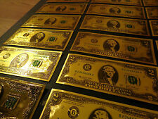Lot Of 5 24 Karat 99.9% Gold Usa $2 Bill_Green Seal_Rigid Pvc Bill Holder