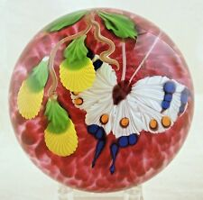 New Mayauel Ward Ruby with White Butterfly Paperweight Studio Art Glass