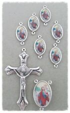 St Saint Christopher Rosary Centerpiece Crucifix & Our Father Bead ITALY 8pc