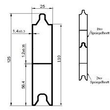 Alu V Spriegelbrett 125x25mm 170cm 1,7m (11€/m) Verstärkung Bordwand Rungenbrett
