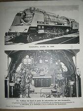 Gravure Locomotive modéle 1933 tableau de bord et poste de mécanicien