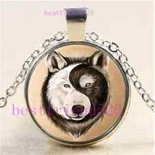 Yin Yang Wolf Face Cabochon Glass Tibet Silver Chain Pendant Necklace#B53
